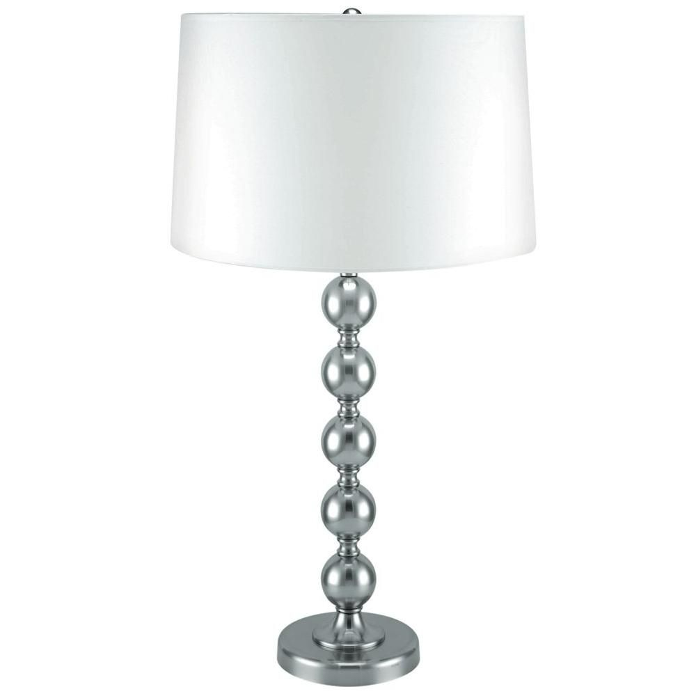 1 Light Table Lamp Steel Finish White Fabric Shade CLI