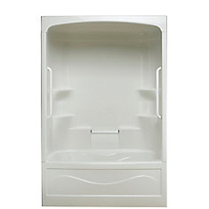 Liberty 60-inch x 88-inch x 34-inch 4-shelf 1-Piece Right Hand Drain Tub & Shower with Grab Bar
