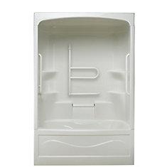 Liberty 60-inch x 88-inch x 34-inch 4-shelf 1-Piece Left Hand Drain Tub & Shower with Grab Bar