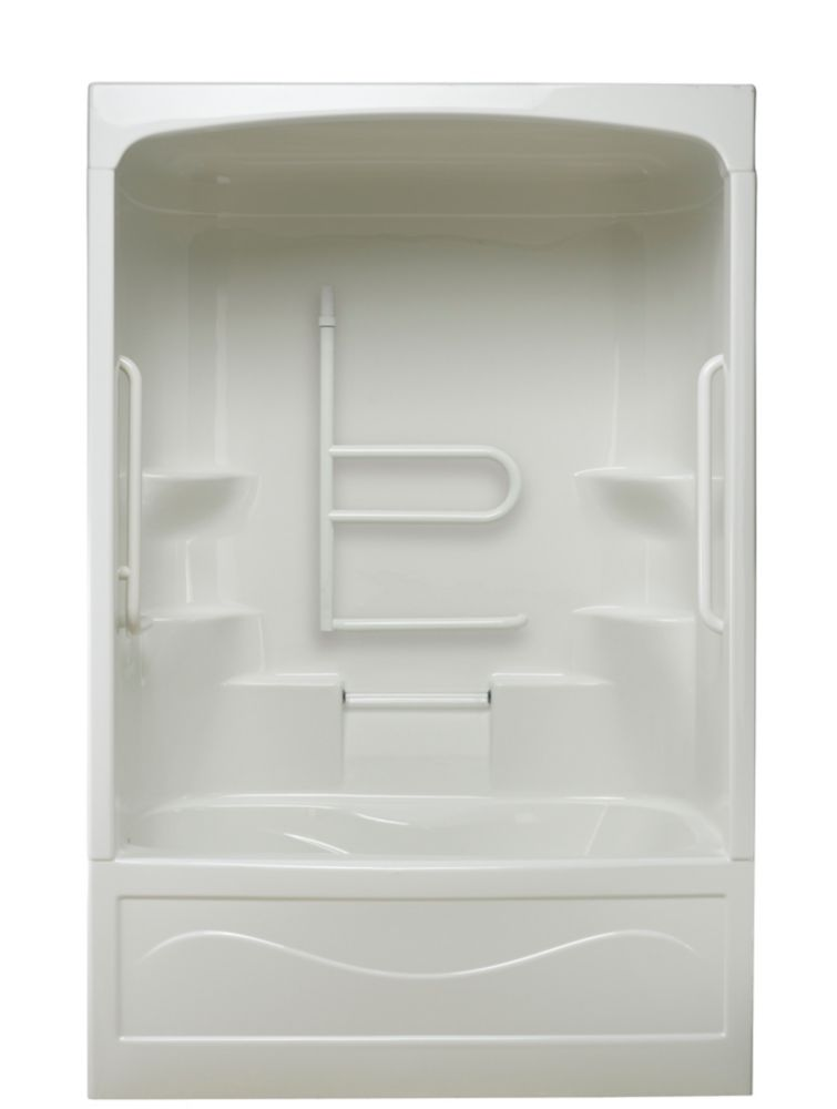 Mirolin Liberty 60-inch x 88-inch x 34-inch 4-shelf 1-Piece Left Hand Drain Tub & Shower with Grab Bar