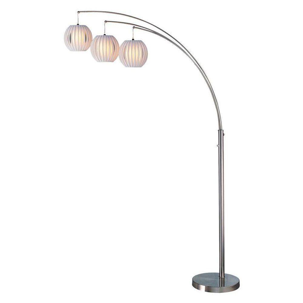 3 Light Floor Lamp Steel Finish White Shade