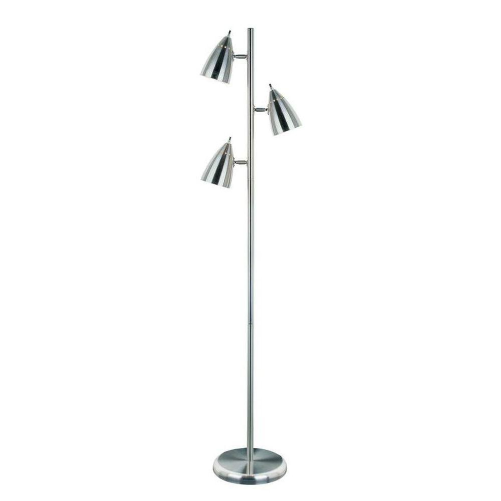 3 Light Floor Lamp Steel Finish