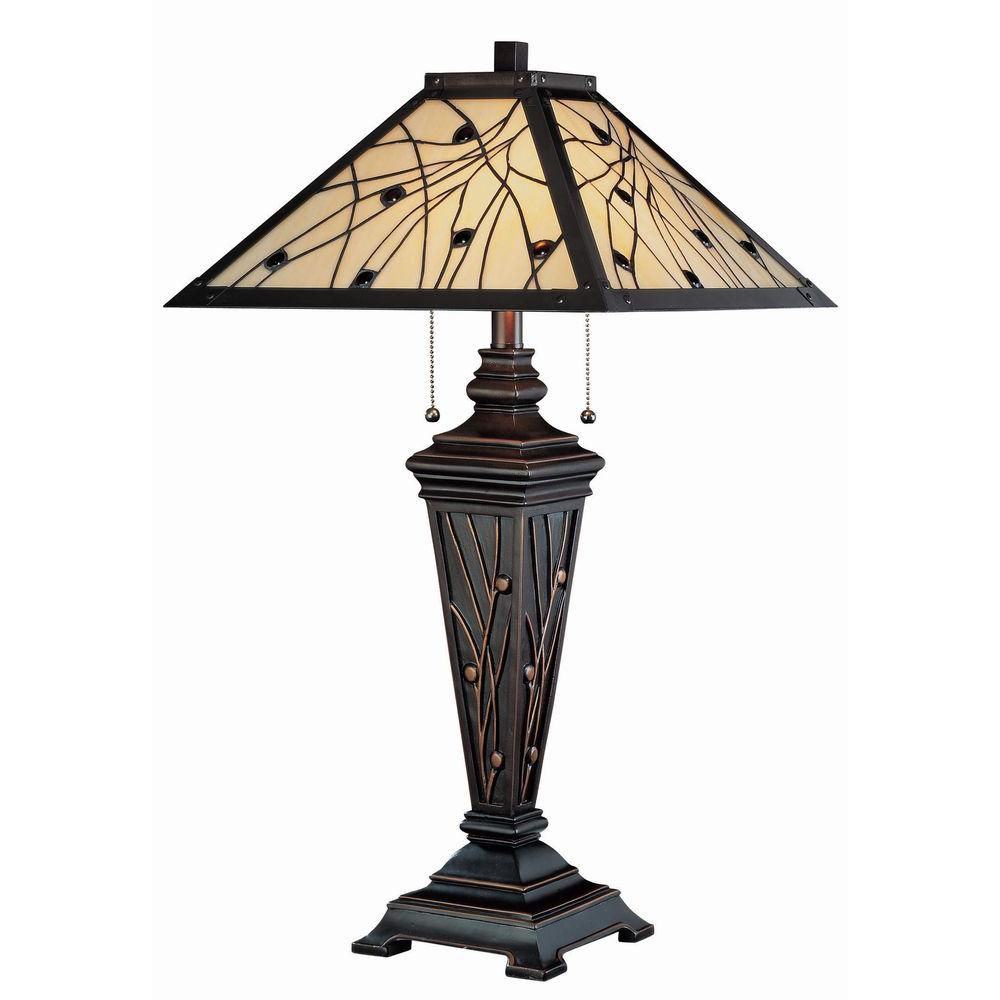 2 Light Table Lamp Bronze Finish Tiffany Shade