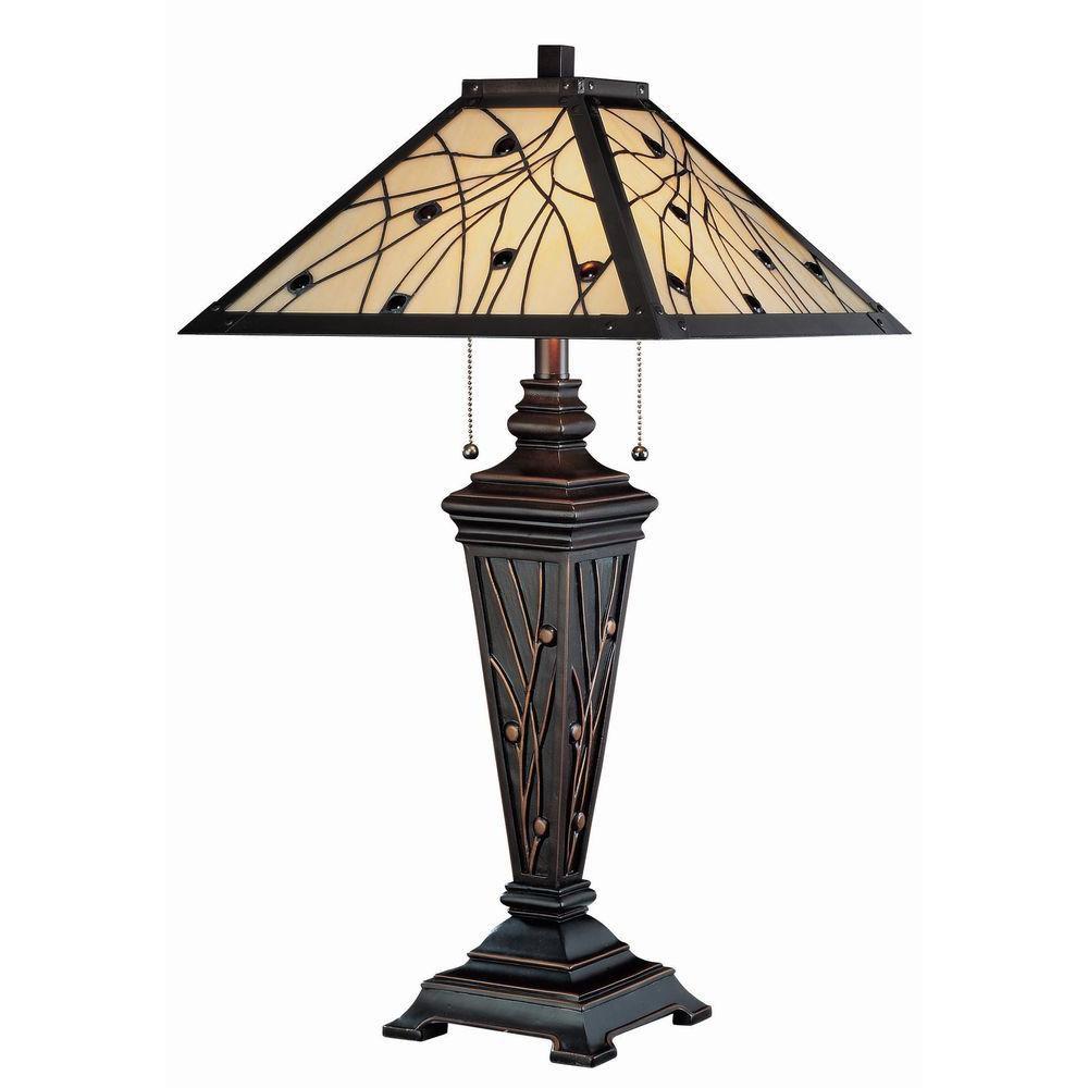 2 Light Table Lamp Bronze Finish Tiffany Shade