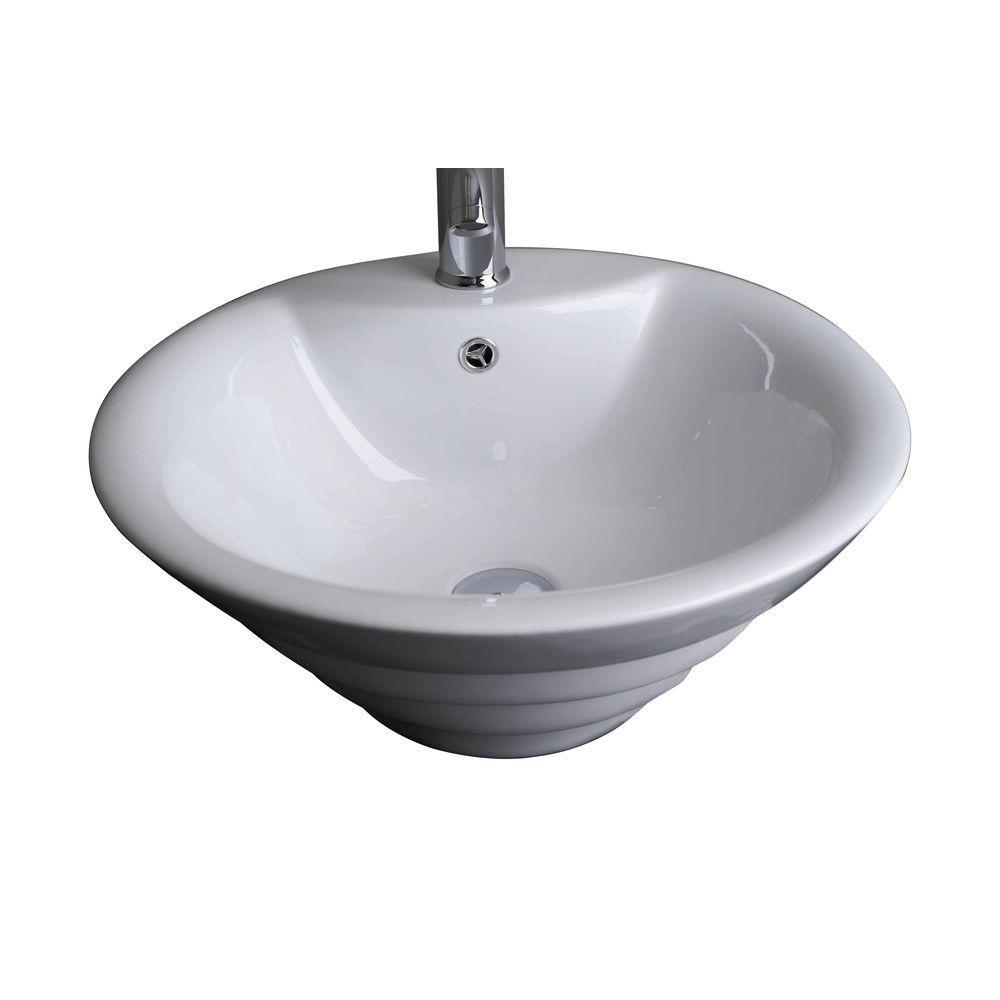 Vasque en céramique blanche, ronde, installation sur Comptoir, avec orifice unique de robinet