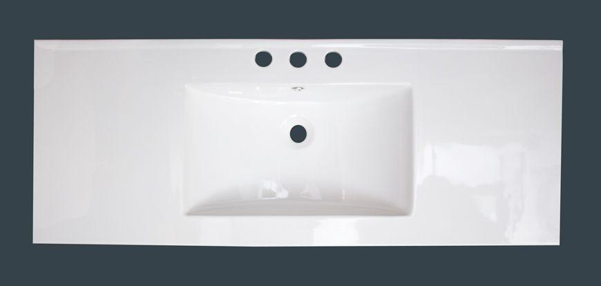 48 po x 18 po Comptoir en céramique blanche, avec centres de 8 po