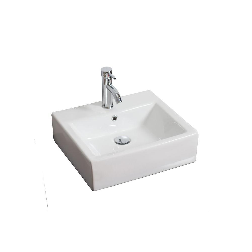 Vasque en céramique blanche, carrée, installation sur Comptoir, avec orifice unique de robinet