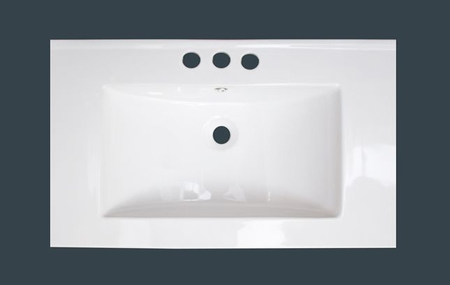 American Imaginations 32-inch W x 18-inch D Ceramic Top with 4-inch Centres in White