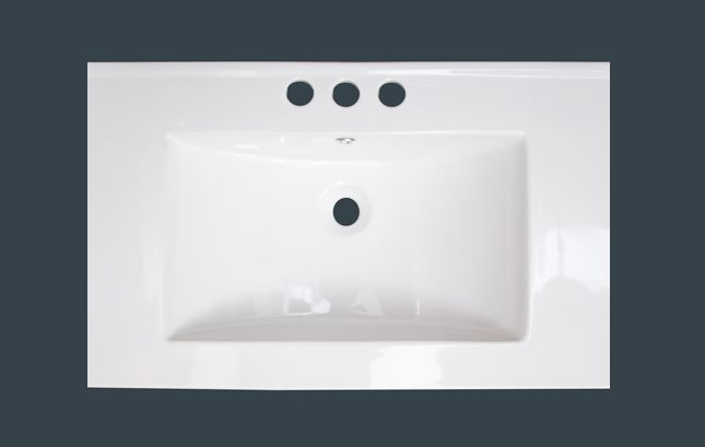 American Imaginations 24-inch x 18-inch Ceramic Top with 4-inch Centres in White