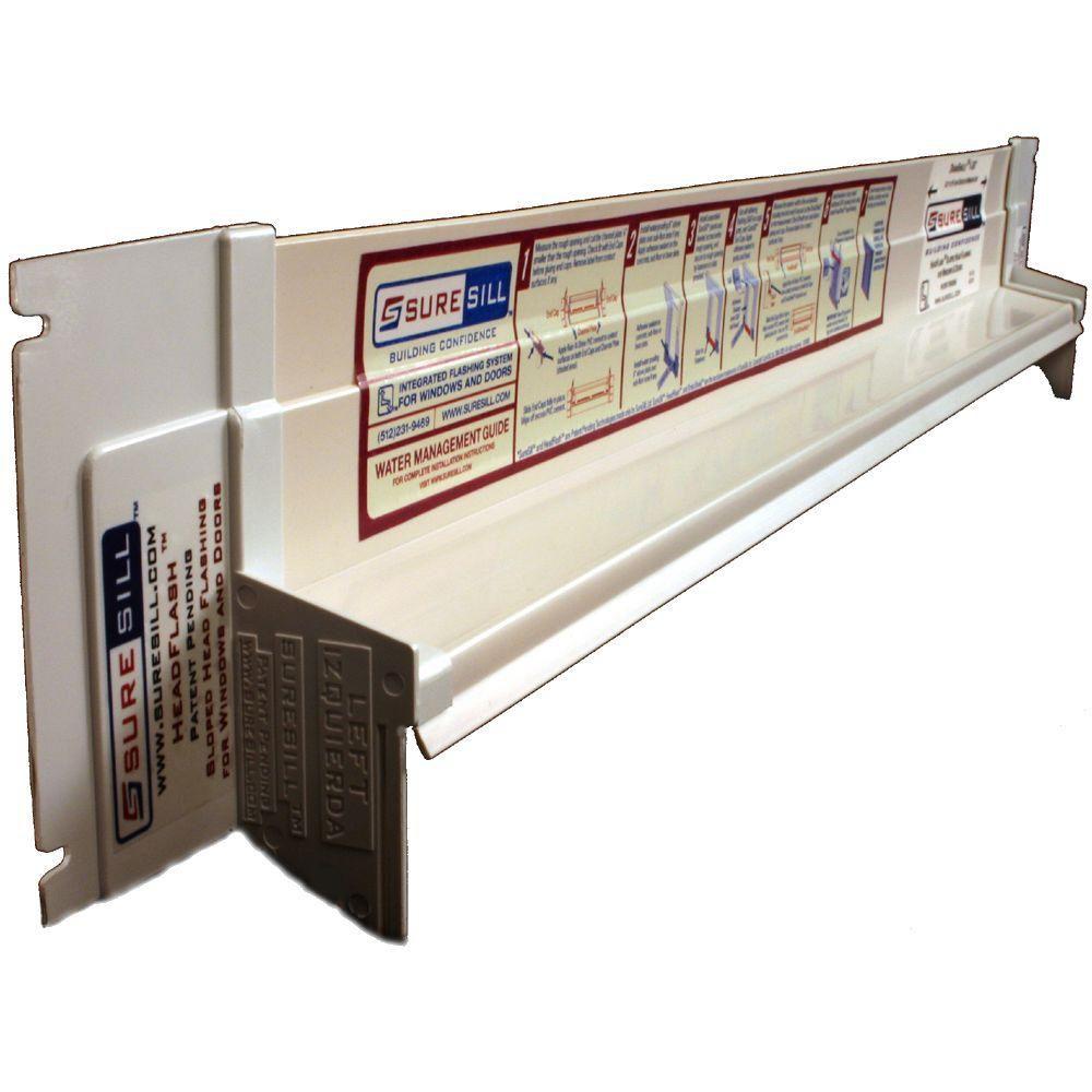 Solin de tête incliné en PVC blanc de 1 3/8 po x 84 po pour installation de porte et fenêtre - en...