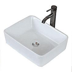 Rectangular Ceramic Vessel Sink in White