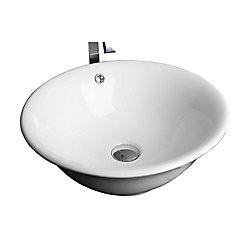 American Imaginations Round Ceramic Vessel Sink in White