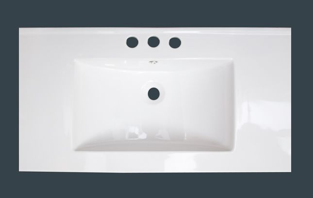 36-inch W x 20-inch D Ceramic Top with 4-inch Centres in White