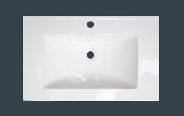 24-inch x 18-inch Ceramic Top with Single Hole in White