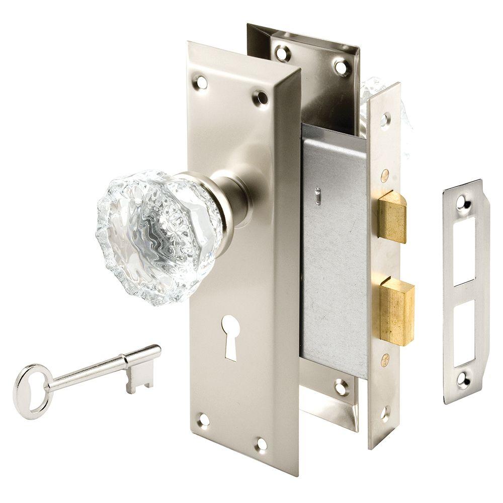 Mortise Satin Nickel Lock Set with Glass Knob