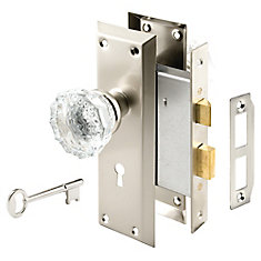 Mortise Satin Nickel Lock Set with Glass Knob