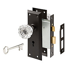Mortise Bronze Lock Set with Glass Knob