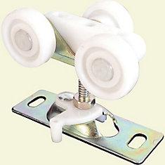 Pocket Door Roller, Tri-Wheel ,1 inch. Flat Nylon Wheels