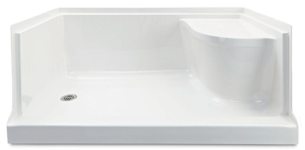 Ellis 60 Acrylic Shower Base with Seat-Left Hand