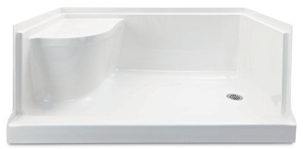 Ellis 60 - Base de douche en acrylique avec siège - Droite