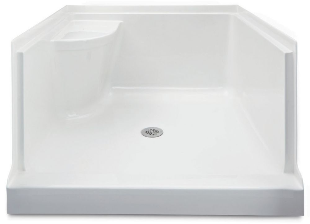 Ellis 42 - Base de douche en acrylique avec siège - Droite