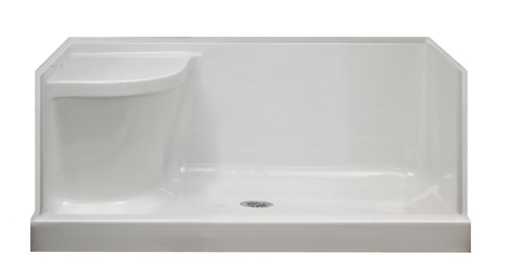 Shower Pans With Seat : Mirolin ellis acrylic shower base with seat right hand