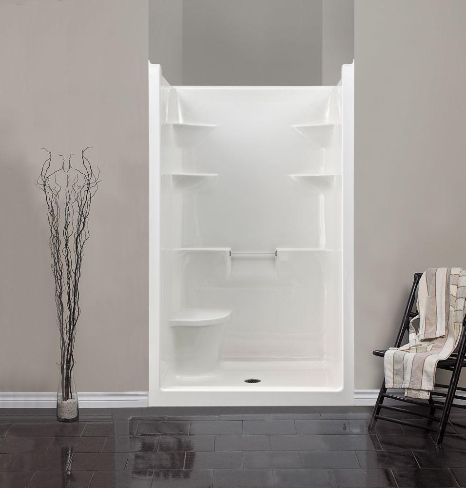 Melrose 4 - Cabine de douche monobloc en acrylique avec siège - Droite