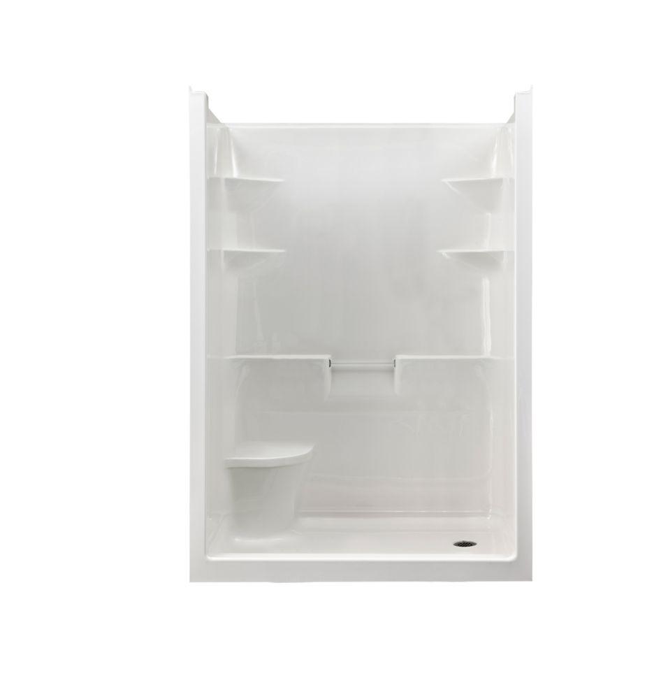 Melrose 5 - Cabine de douche monobloc en acrylique avec siège - Droite