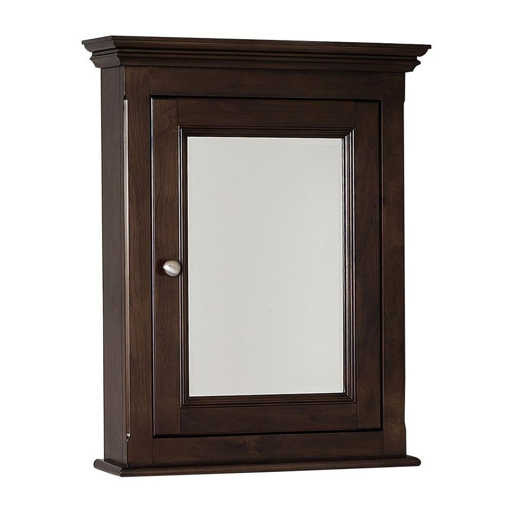 24 Inch x 30 Inch Solid Wood Framed Reversible Door Medicine Cabinet in Walnut Finish