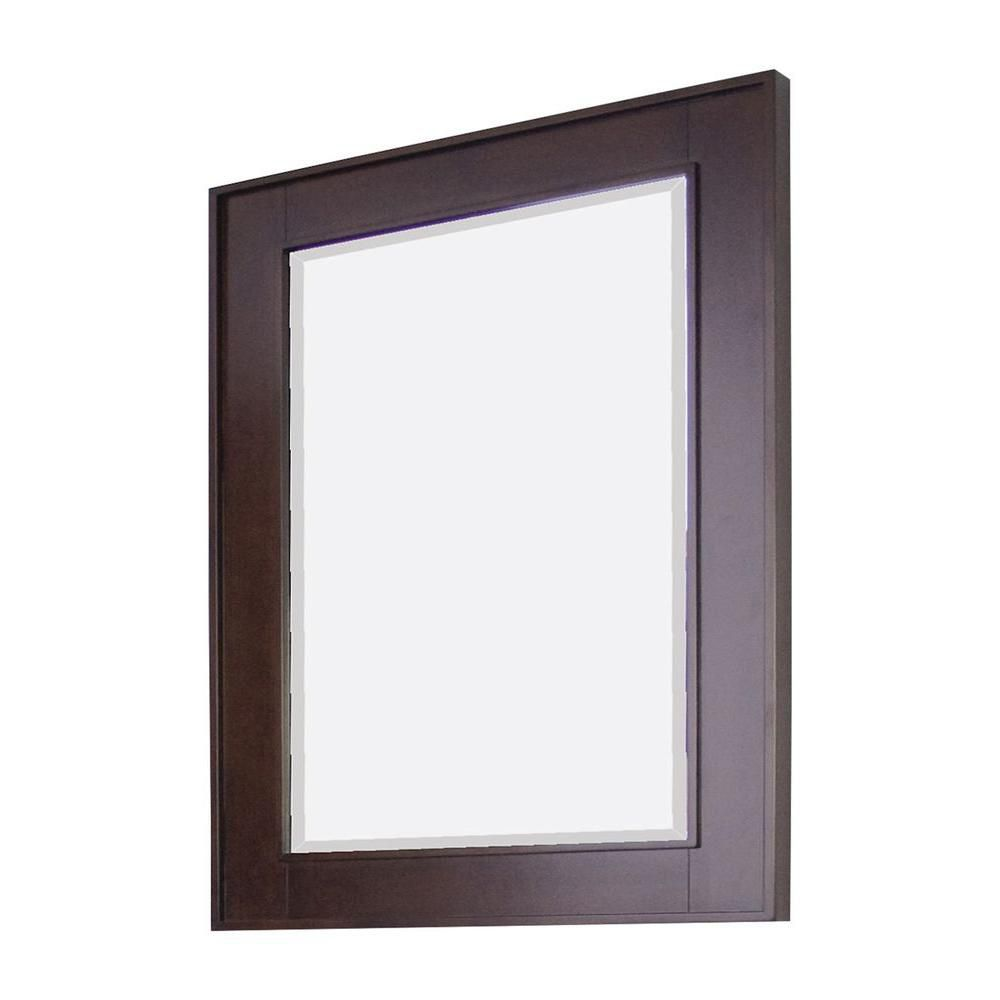 32 Inch x 36 Inch Rectangle Wood Framed Mirror in Tobacco Finish