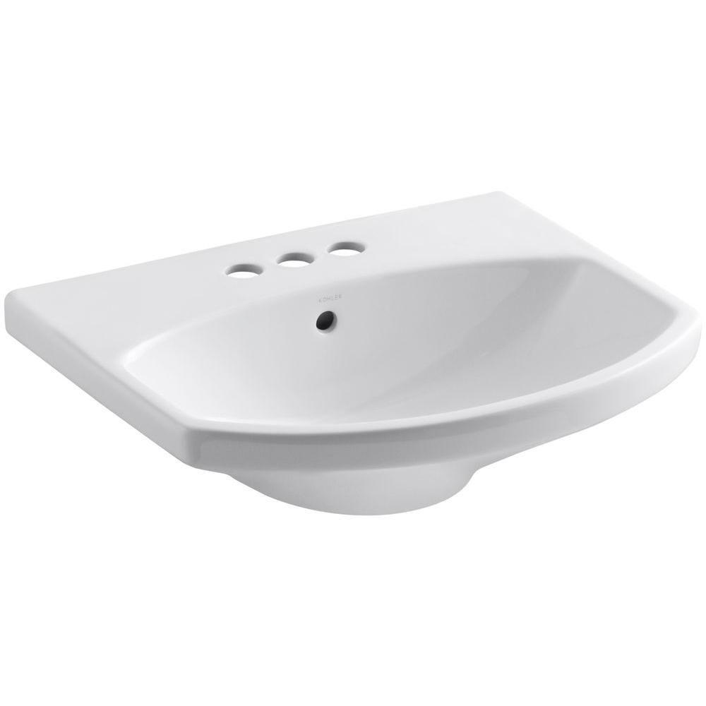 Cimarron 3-Hole Bathroom Pedestal in White