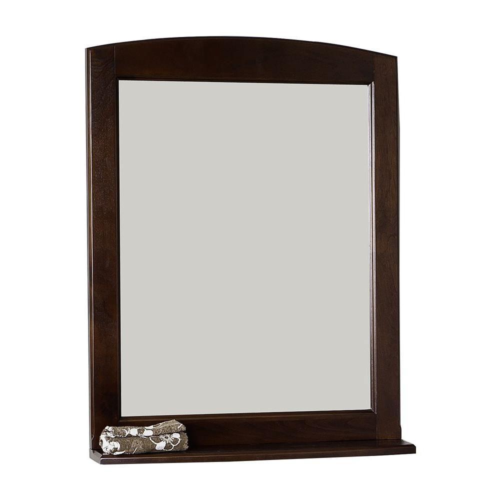 24 Inch x 32 Inch Rectangle Wood Framed Mirror with Shelf in Walnut Finish