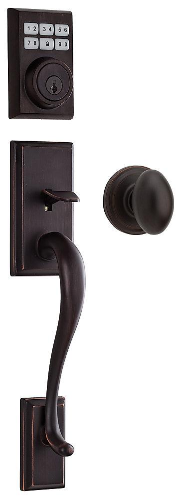 Hawthorne Venetian Bronze Keyless Entry Laurel Knob Handle Set with Smartcode