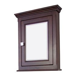 American Imaginations 24 Inch x 30 Inch Solid Wood Framed Reversible Door Medicine Cabinet in Tobacco Finish