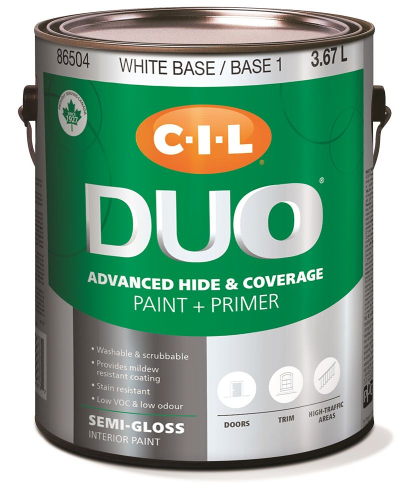 Peinture dintérieur CIL DUO fini semi-lustré - Base blanche / Base 1, 3,67 L