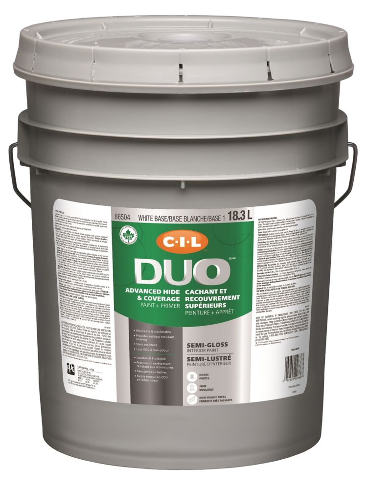 CIL DUO Interior Semi-Gloss White Base / Base 1, 18.3 L