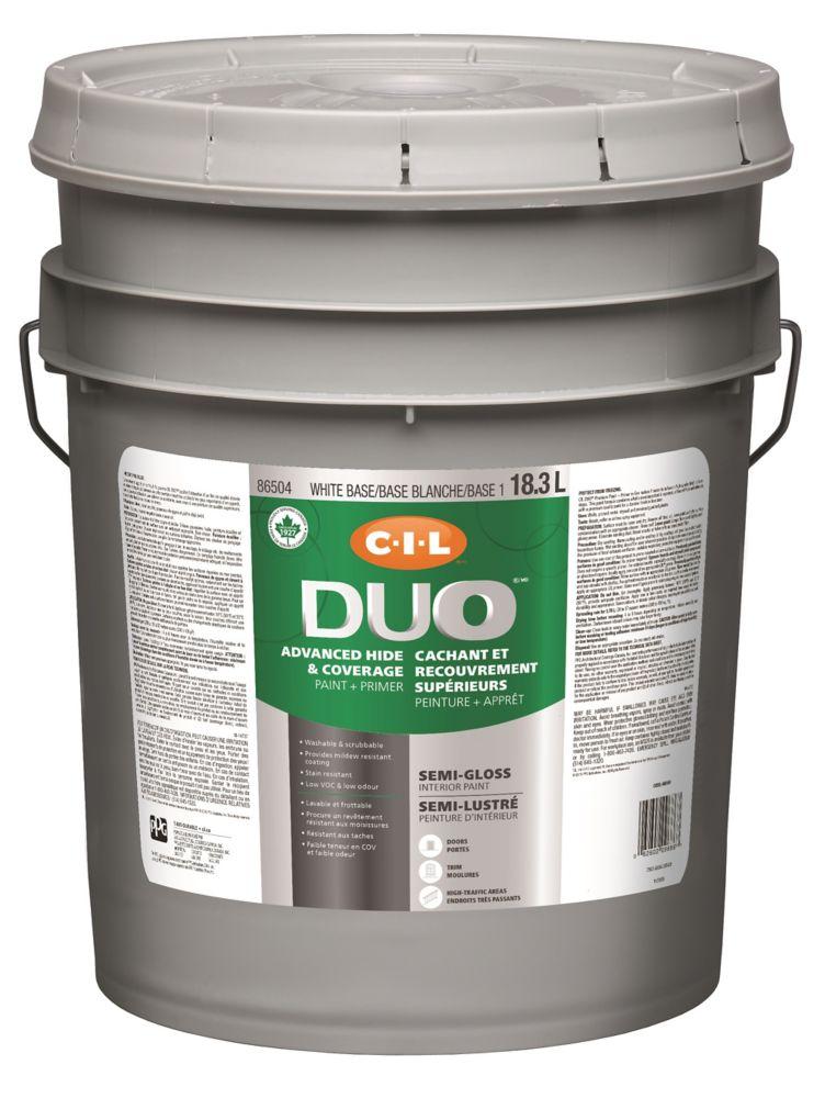 Peinture dintérieur CIL DUO fini semi-lustré - Base blanche / Base 1, 18,3 L