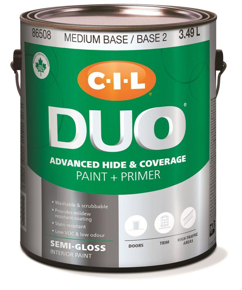 Peinture dintérieur CIL DUO fini semi-lustré - Base moyenne / Base 2, 3,49 L