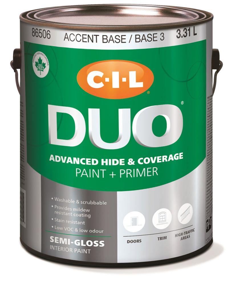 Peinture dintérieur CIL DUO fini semi-lustré - Base accent / Base 3, 3,31 L