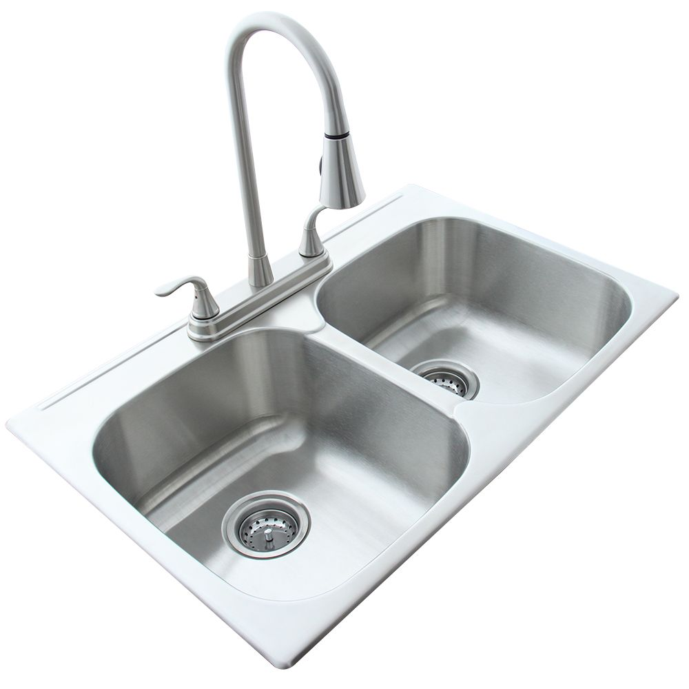 Transform Twin Bowl Sink 31.5 Inch x 20.5 x 8 with Brush Nickle Two Handle Pull Down Faucet