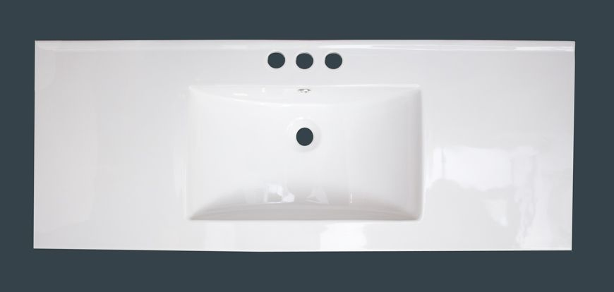 48-inch W x 18-inch D Ceramic Top with 4-inch Centres in White