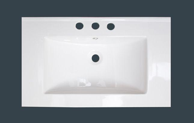 32 po x 18 po Comptoir en céramique blanche, avec centres de 8 po