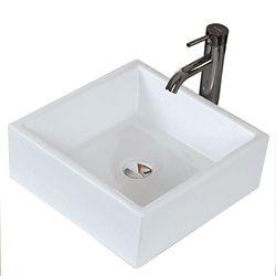 American Imaginations Drop-In Oval Ceramic Vessel Sink in White