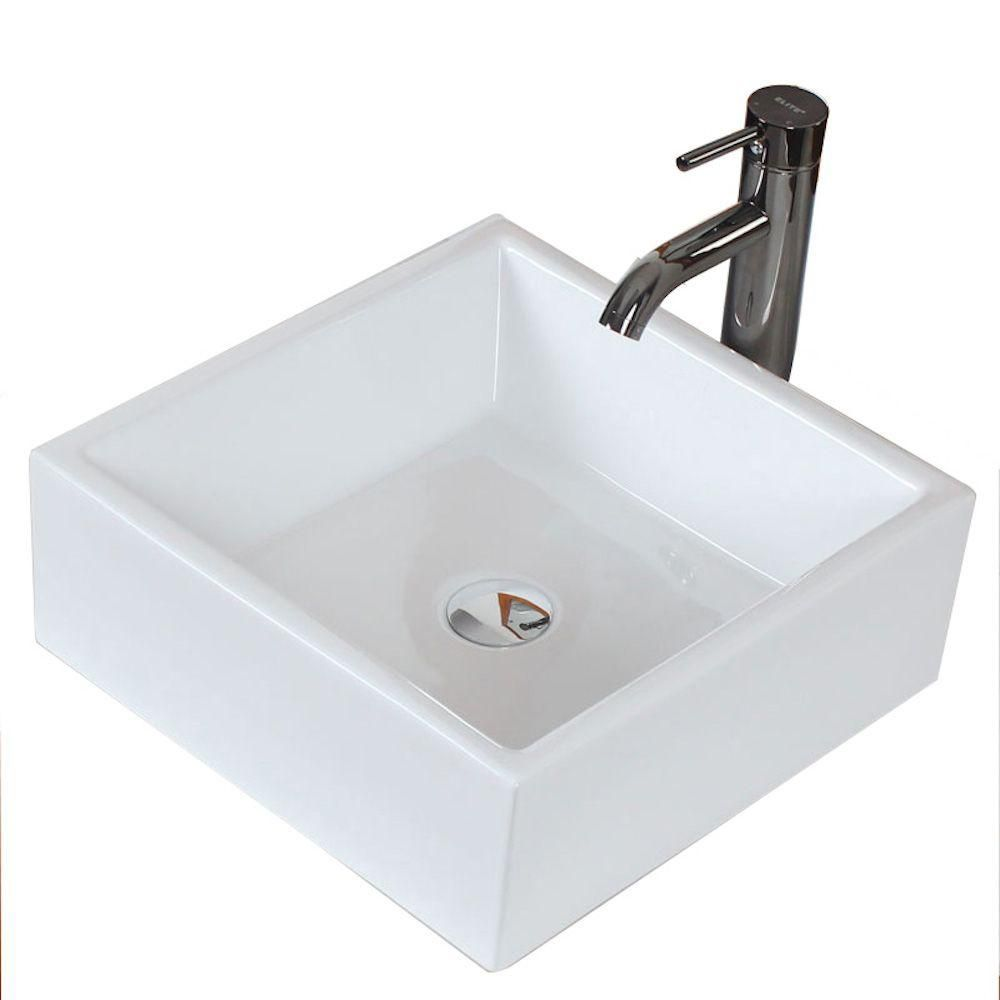 Square Ceramic Vessel Sink in White