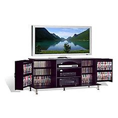 Grande console multimédia de luxe noire avec armoires de rangement repliables