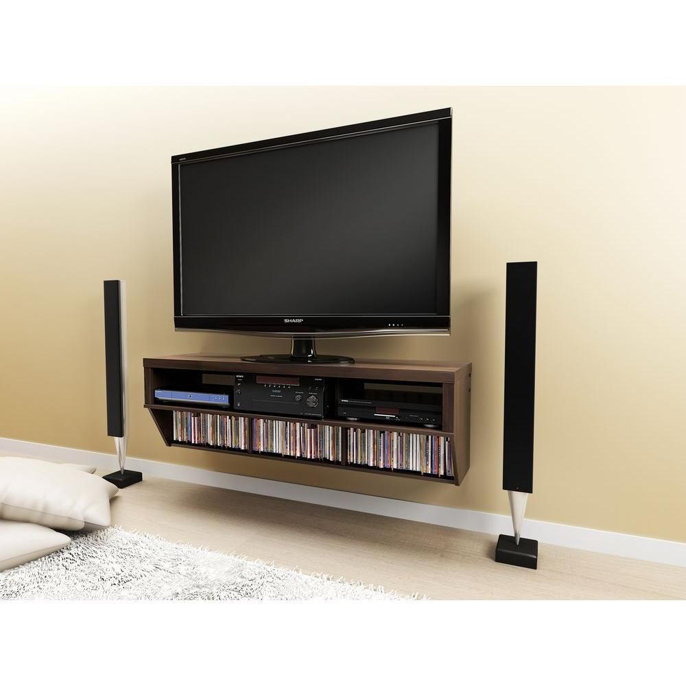Espresso 58 Inch Wide Wall Mounted AV Console - Series 9 Designer Collection