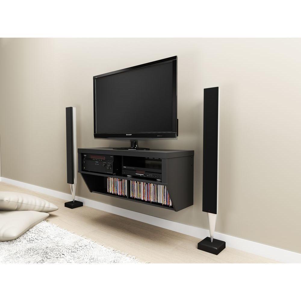 Black 42 Inch Wide Wall Mounted AV Console - Series 9 Designer Collection