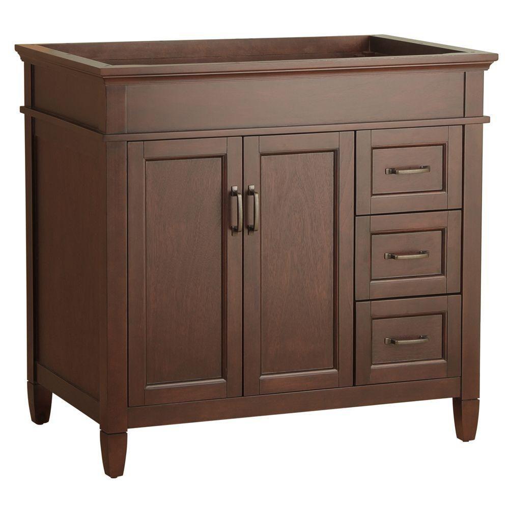 Ashburn 36 po. meuble-lavabo avec tiroirs à droite, 36 po (L) x 21 1/2 po (P) x 34 po (H)