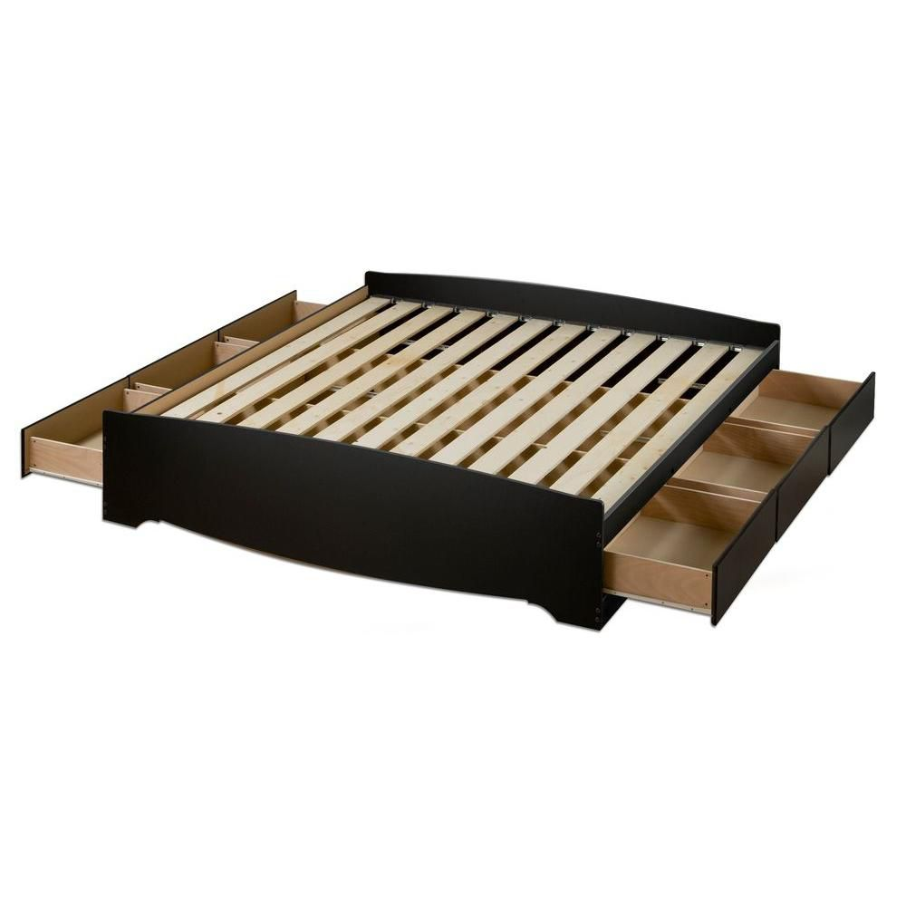 Black Queen Mates Platform Storage Bed with 6 Drawers