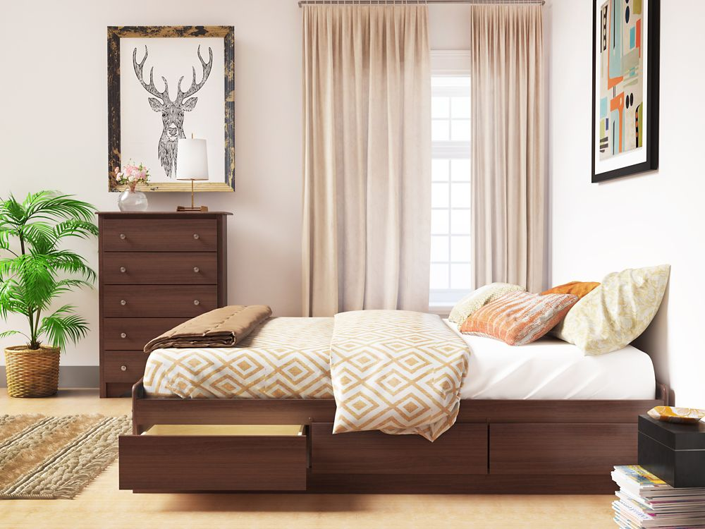 prepac cherry tall queen captain 39 s platform storage bed with 12 drawers the home depot canada. Black Bedroom Furniture Sets. Home Design Ideas
